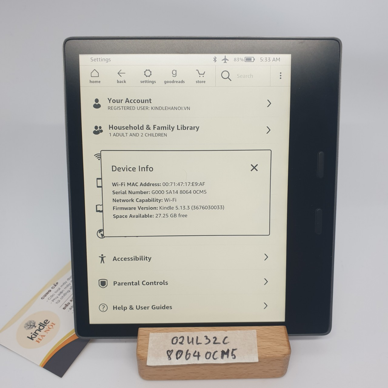 Used Very Good | Máy đọc sách Kindle Oasis 2 (9th) O2 bản 32GB (CODE 0CM5)