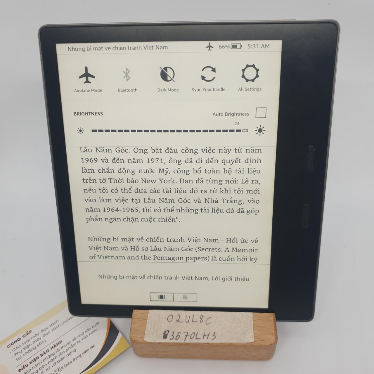 Máy đọc sách Kindle Oasis 2 (9th) O2 bản 8GB mã 0LH3 – Used Very Good